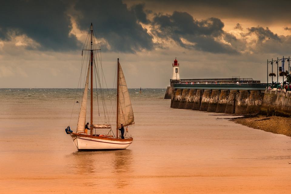 Body Of Water, Sea, Ocean, Boat, Sunset, Sailboat
