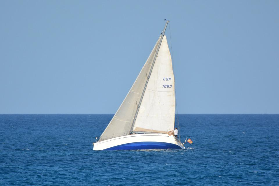 Boat, Sailing Boat, Sea, Ocean, Blue, Landscape