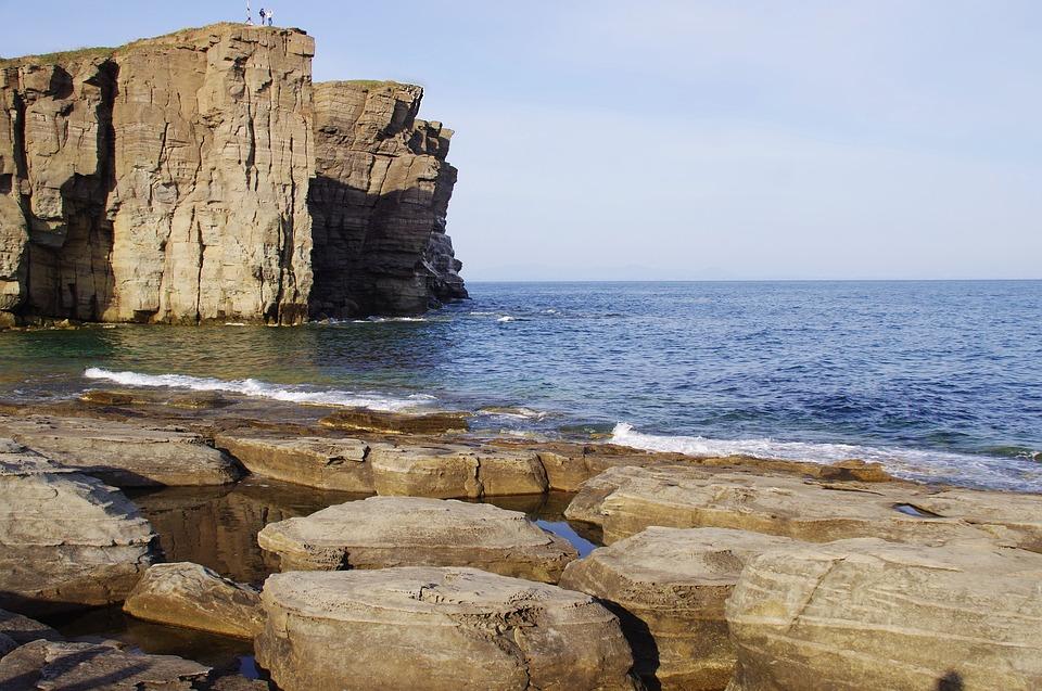 Sunset, Sailing Boat, Stones, Coast, Cliff, Rock