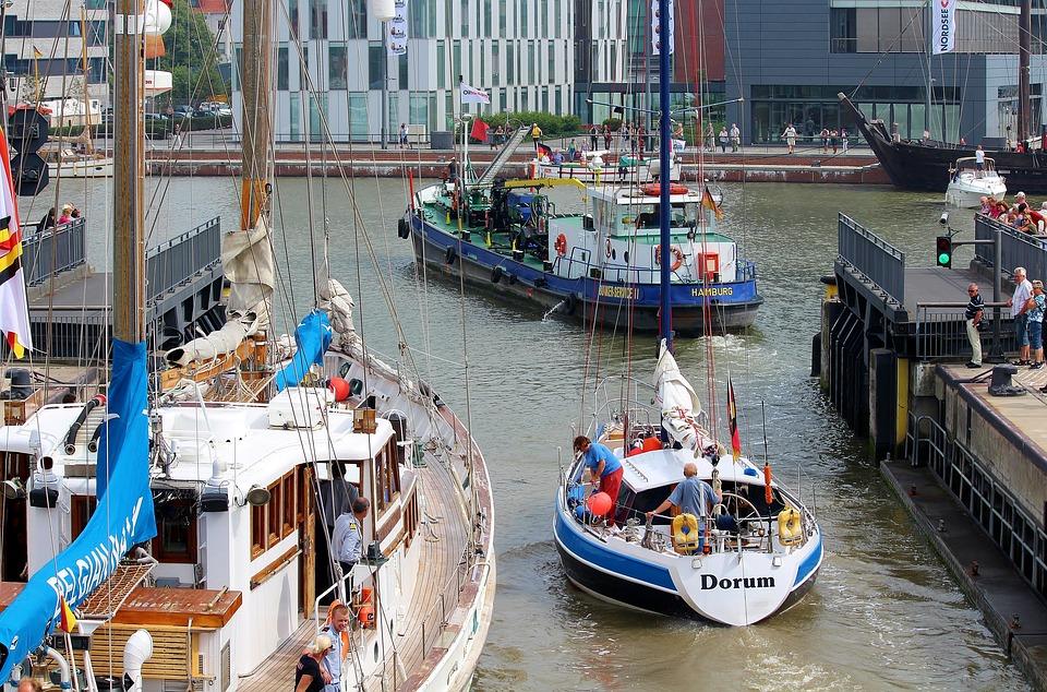 Ships, Sailing Boats, Lock, Gateway, Port, Water