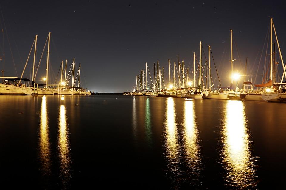 Harbor, Port, Boats, Sailing Boats, Night, Lights