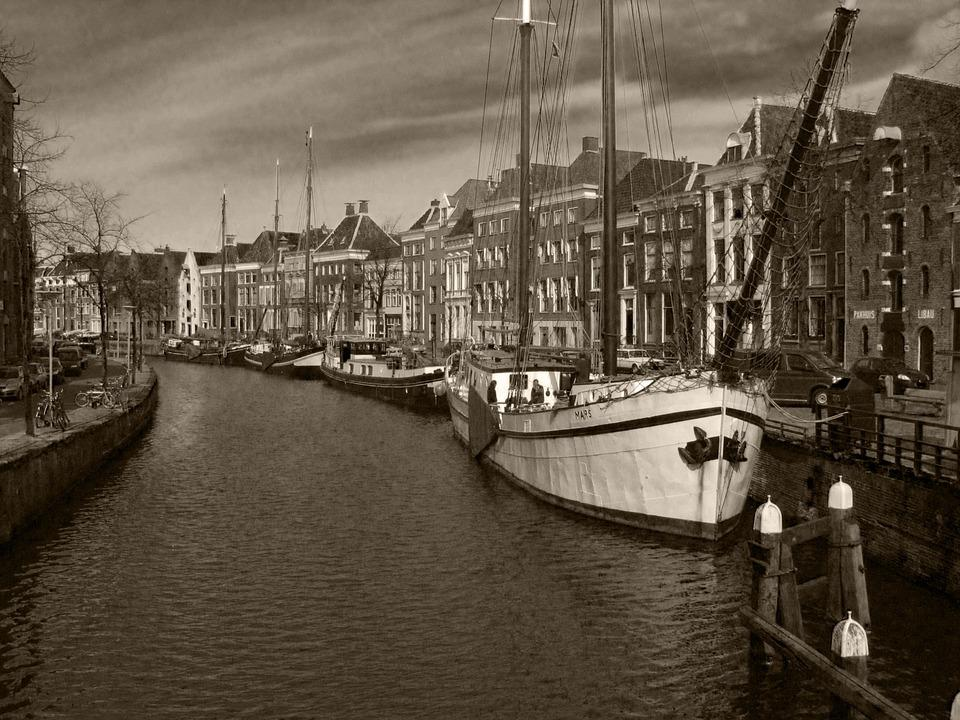 Canal, Boats, Sailing, Europe, City, Old, Historic