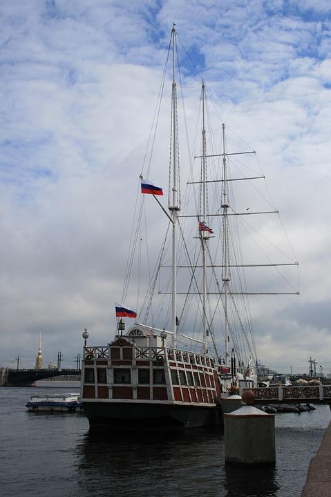 Ship, Sailing, Masts, Flags, Russian, River, Water