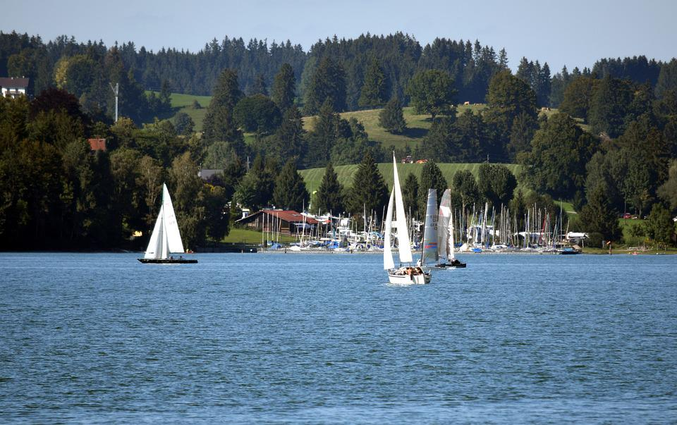 Lake, Mountains, Sailboats, Sailing, Nature, Landscape