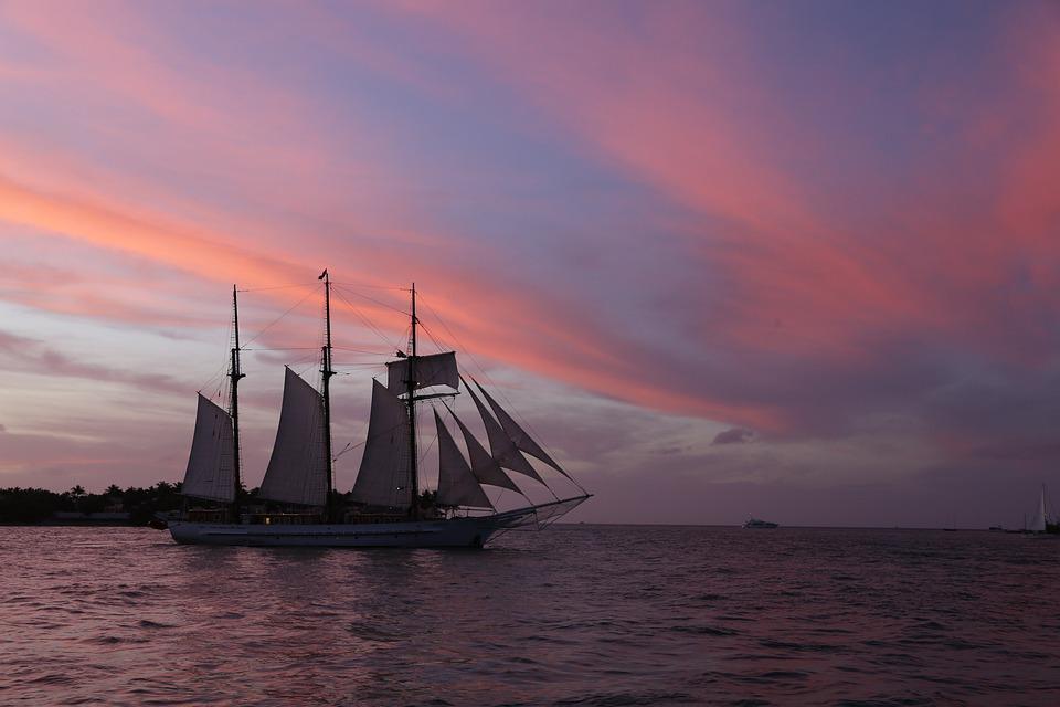Key West, Sunset, Sea, Sailing Ship