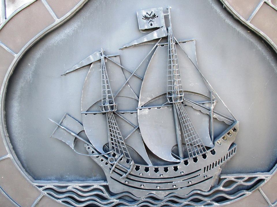 Ship, Sailing Vessel, Engraving, Shield, Metal