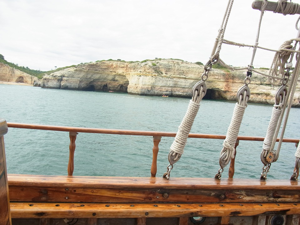 Portugal, Algarve, Rocky Coast, Sailing Vessel