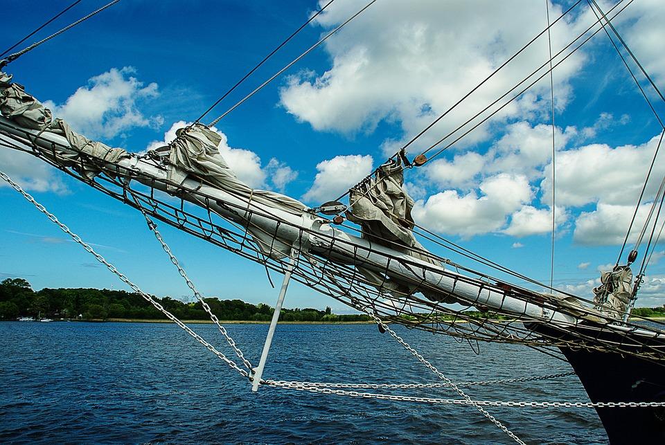 Sailing Vessel, Bug, Sea, Clouds, Stralsund
