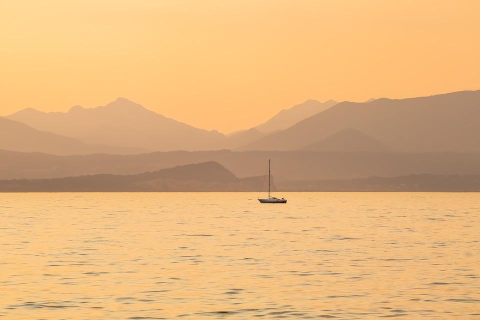 Lake, Boat, Sunset, Sailing, Mountains, Fog, Water