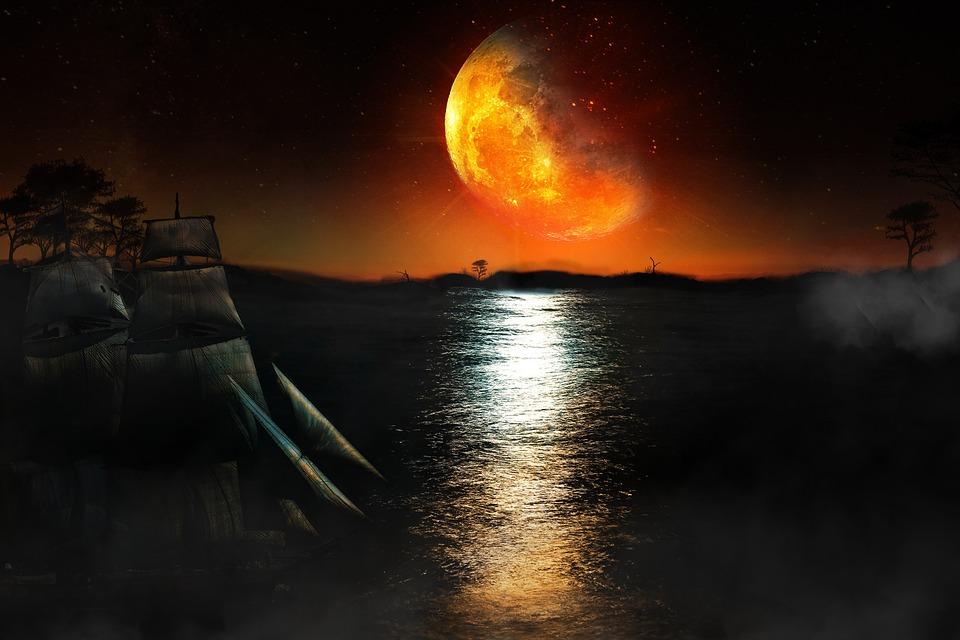 Moon, Blood, Bloody, Sailing, Boat, Ship, Sailing-boat