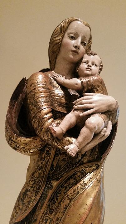 Statue, Religion, Saint, Woman, Baby