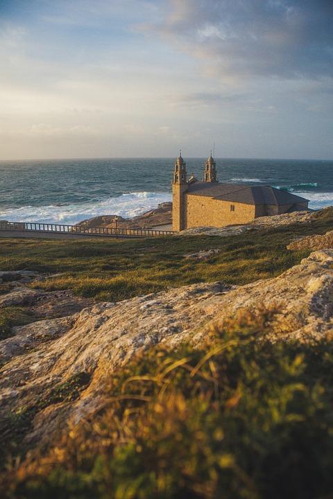 Saint Jaque De Compostela, Sea, Church, Side