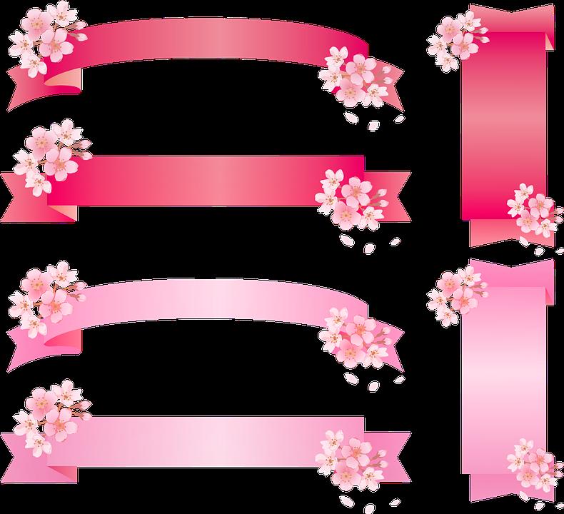 Ribbon, Sakura, Cherry Blossom, Pink Japanese, Label
