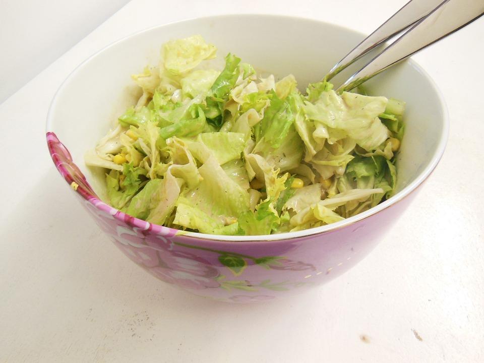 Salad, Eat, Healthy, Corn, Porcelain, Frisch, Meal