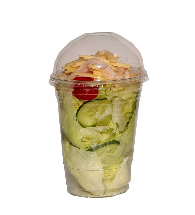 Fast Food, Salad, Finish Salad, Plastic Packaging