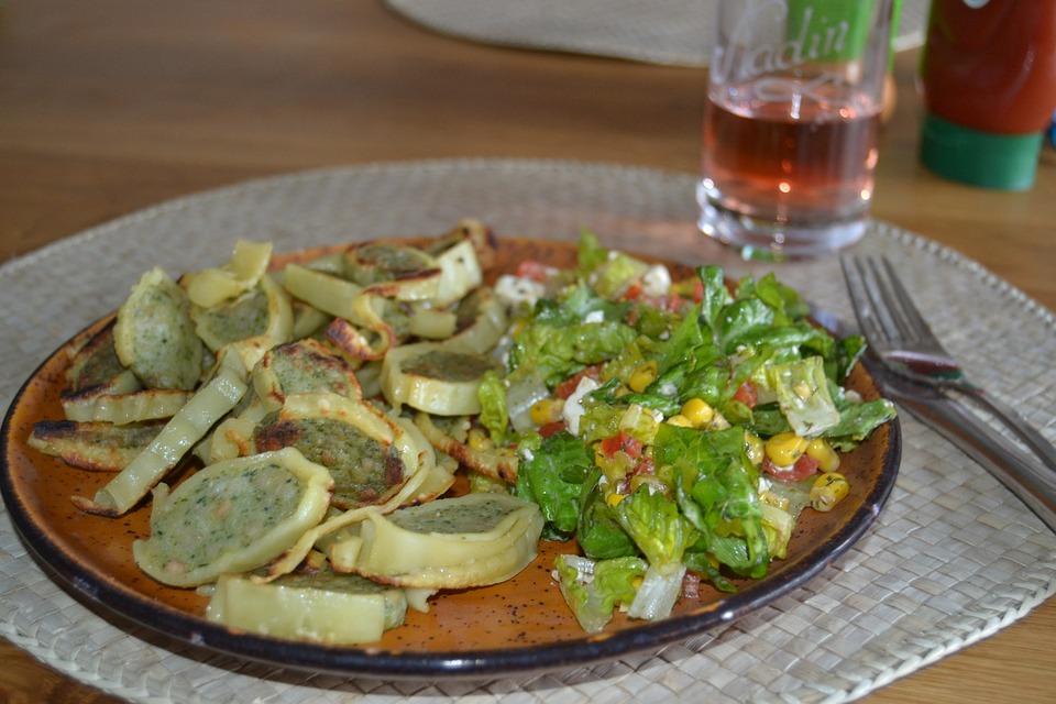 Maultaschen, Salad, Lunch, Fried, Eat