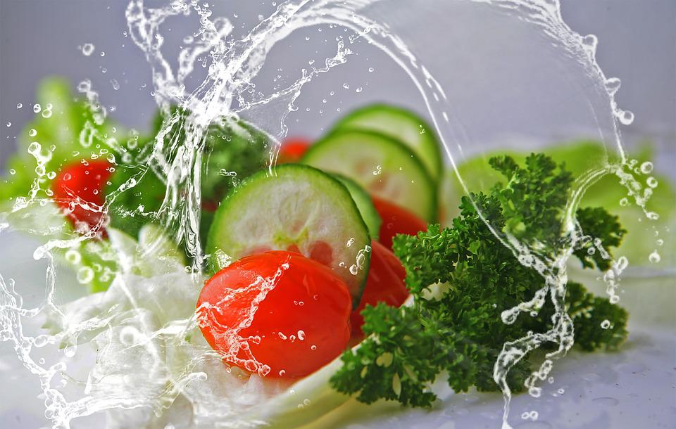 Eat, Salad, Cucumbers, Food, Tomatoes, Mixed, Water
