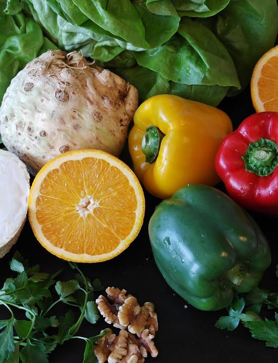Paprika, Salad, Orange, Still Life, Walnuts, Nut, Oil