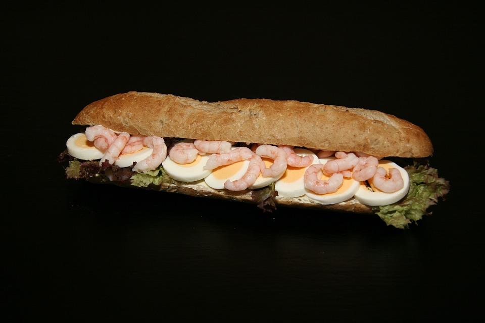 Sandwich, Eggs, Prawns, Food, Dining, Salad, Cooking