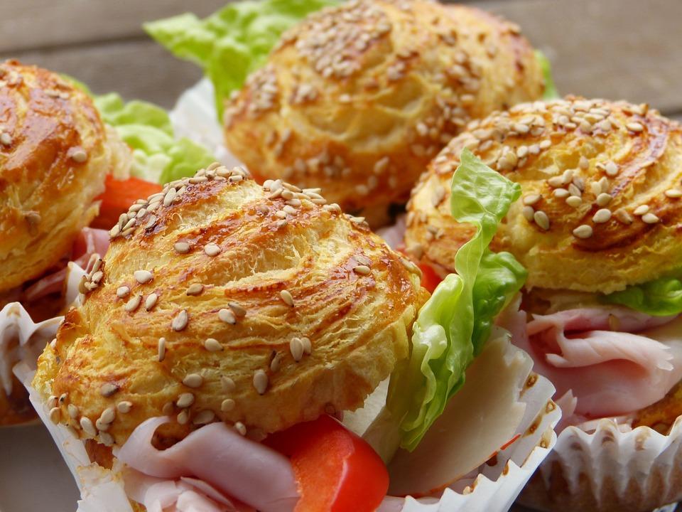 Sandwich, Puff Pastry, Sesame, Salad, Bread, Snack