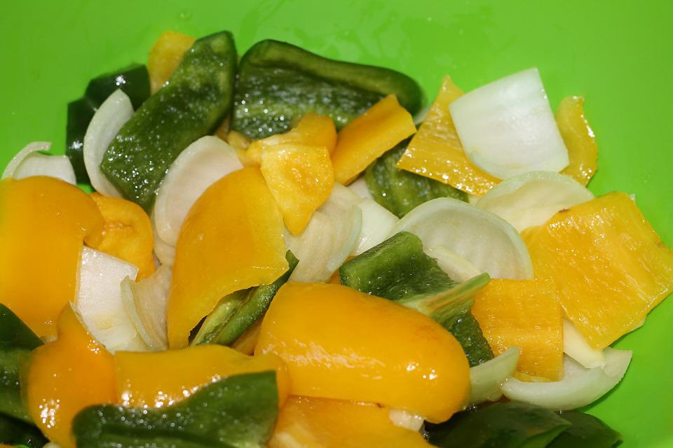 Salad, Yellow Pepper, Green, Onion, Vegetables