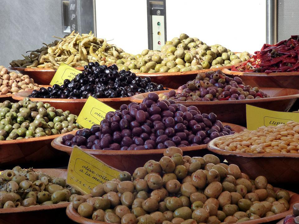 Market, Stall, Olives, Sale, Food, Delicious, Colorful