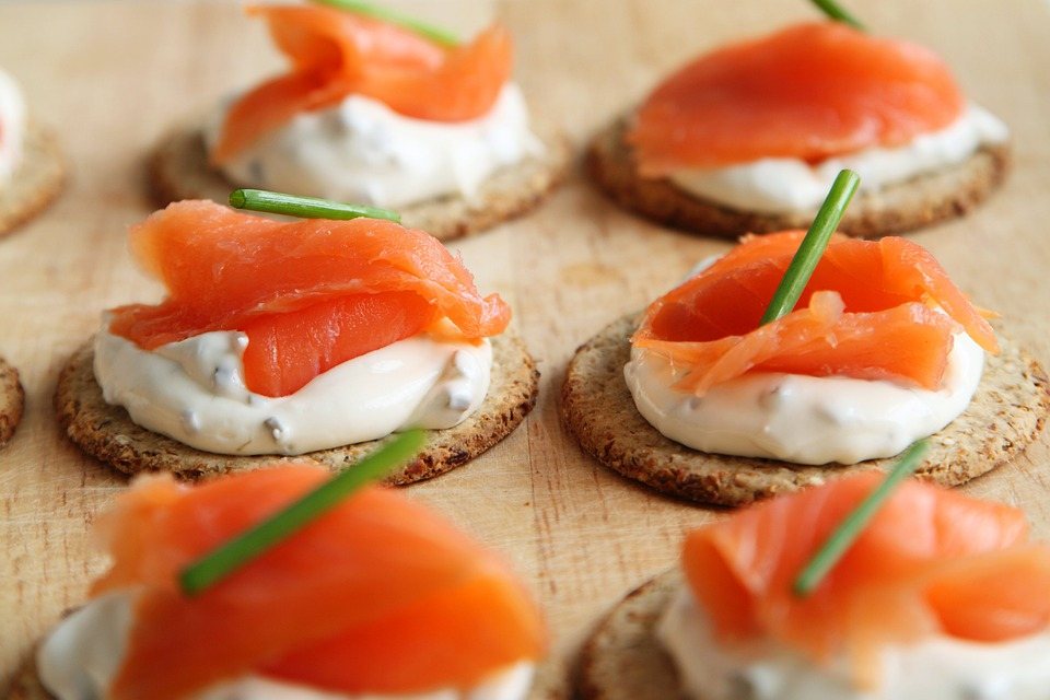 Appetizer, Salmon, Canape, Cheese, Cracker, Cuisine