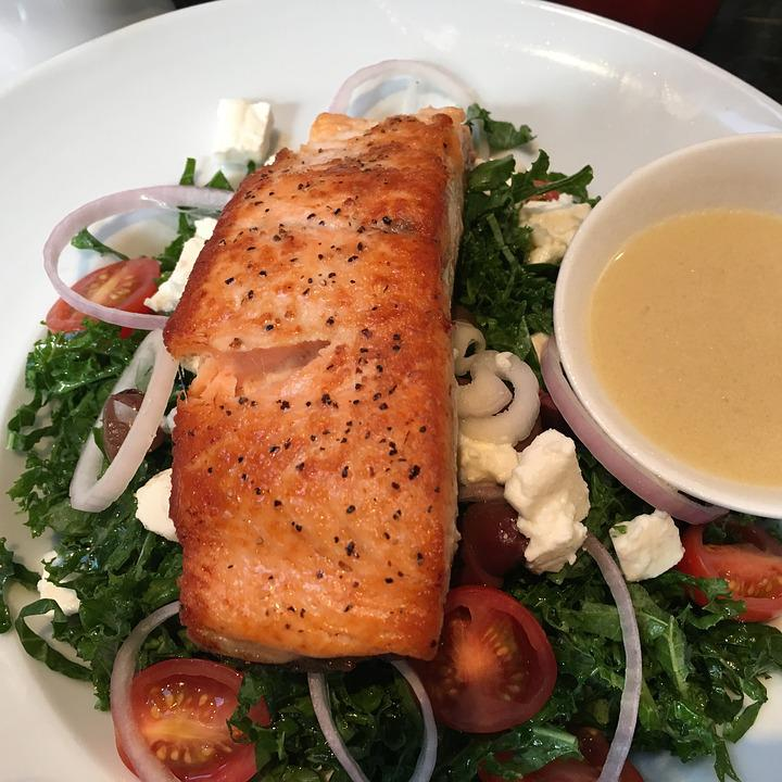 Seafood, Salmon, Grilled, Eating, Cooked, Healthy Meal
