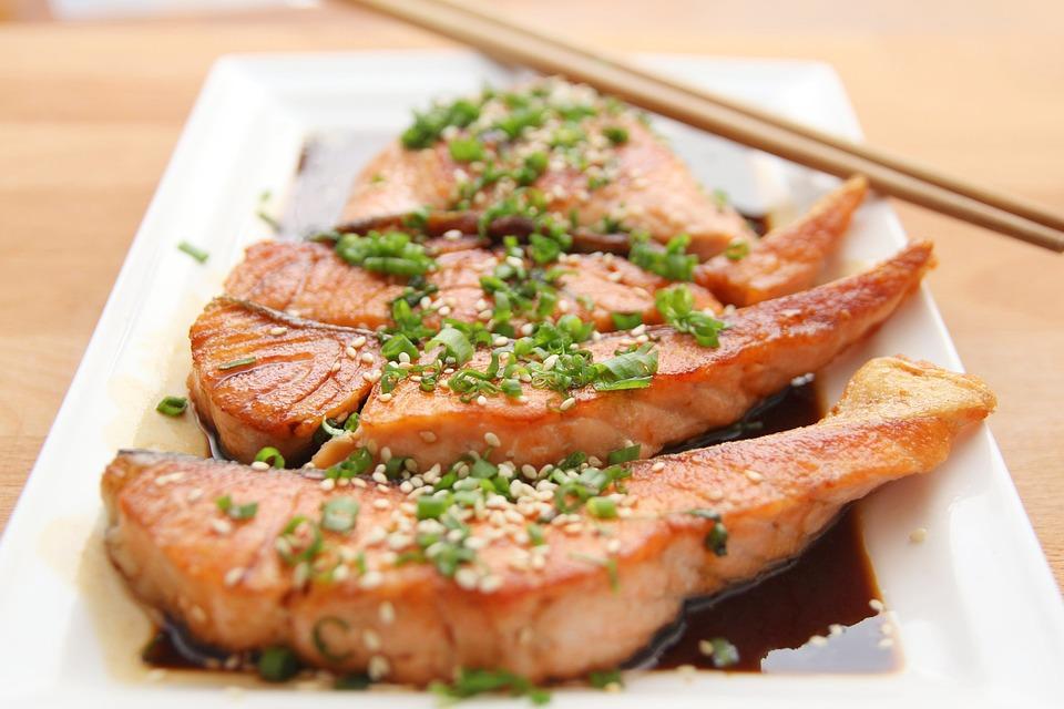 Food, Salmon, Teriyaki, Cooking