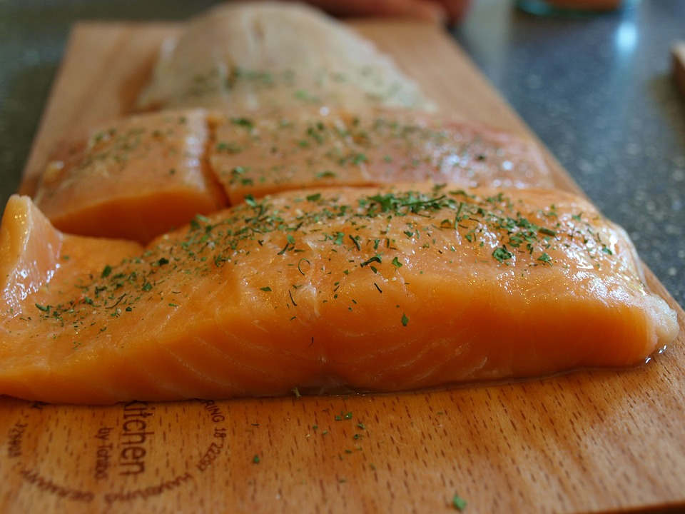Salmon, Salmon Fillet, Fish, Salmon On Wooden Board