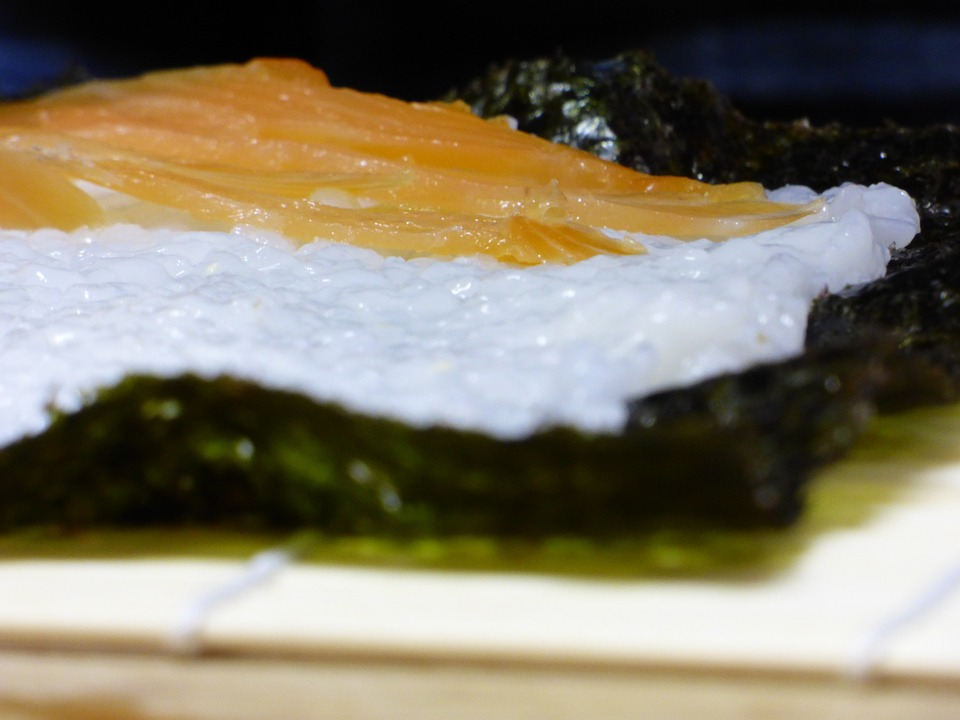 Sushi, Salmon, Fish, Wood, Japan, Food, Bamboo, Algae