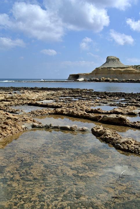 Marsalforn, Salt Pans, Gozo, Malta, Salt, Water, Europe