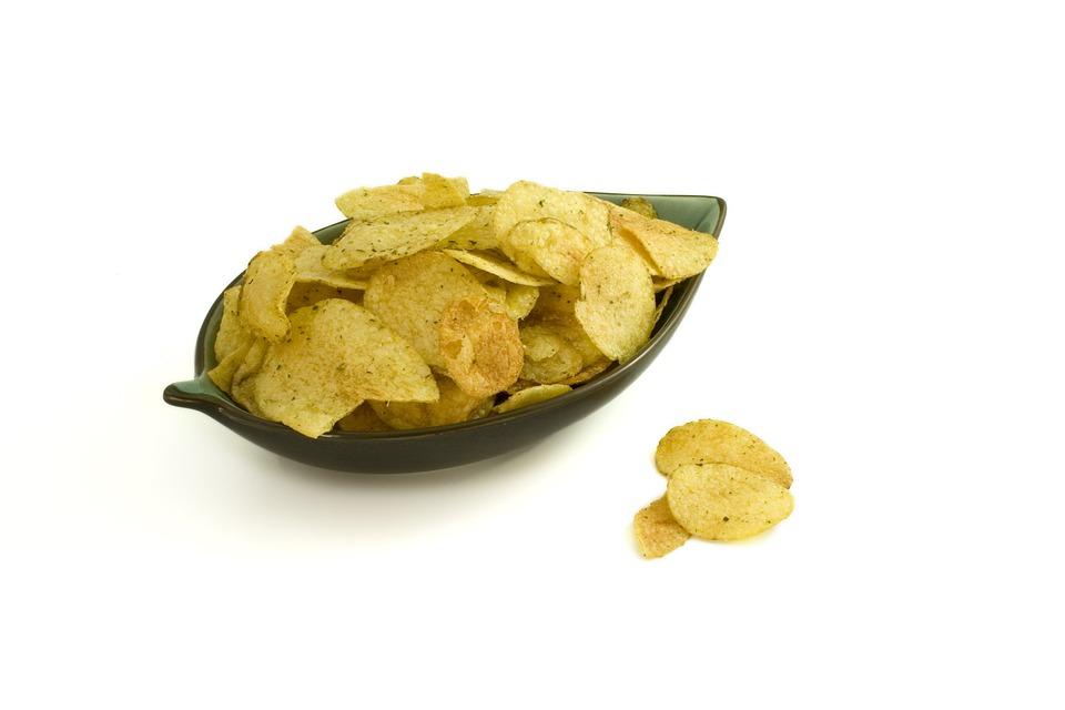 Crisps, Bowl, Salt, Potatoes, Oil, Fat, Yummy, Food