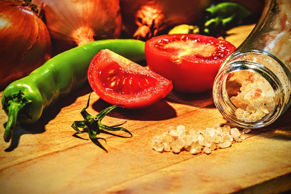 Cooking, Tomato, Pepper, Cutting, Salt, Food