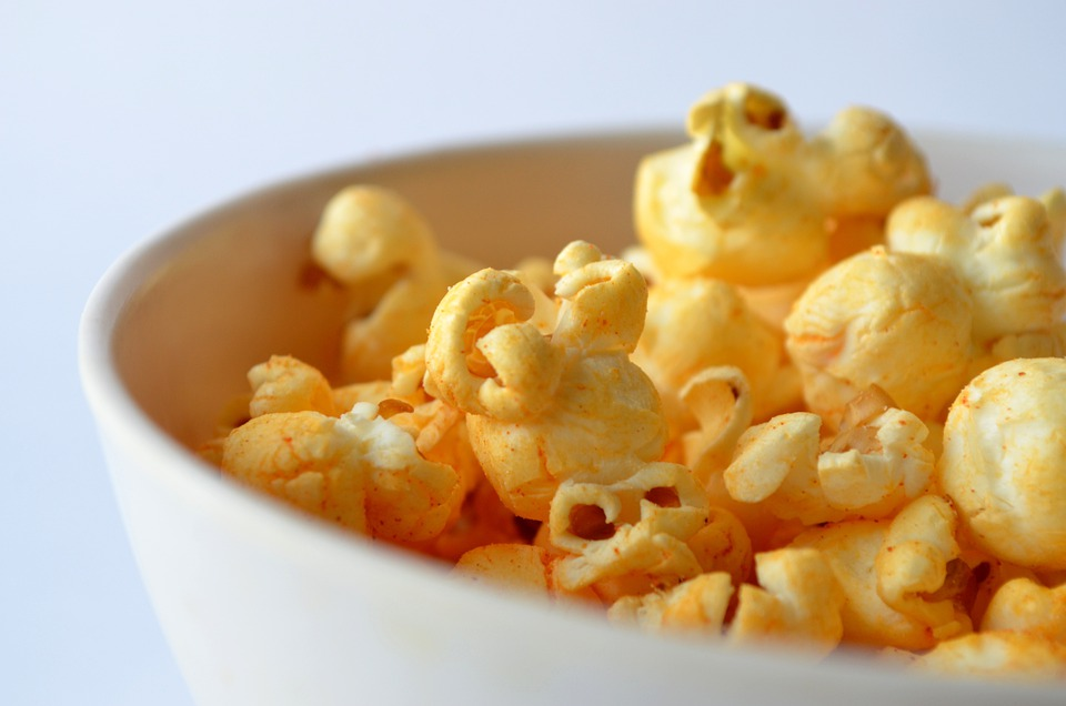 Popcorn, Salted, Bowl, View, Close, Close-up, Yellow