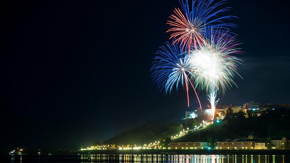 Nizhniy Novgorod, Salute, Fireworks, Sky, Evening
