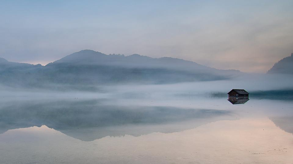 Mist, Lake, Cottage, Mountains, Salzkammergut, Austria