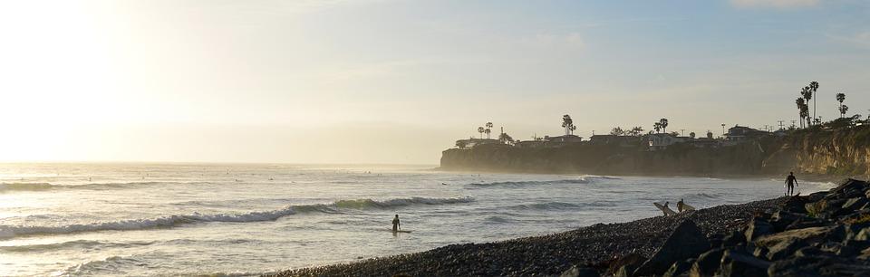Usa, California, San Diego, Pacific Beach, Sunset, Sea