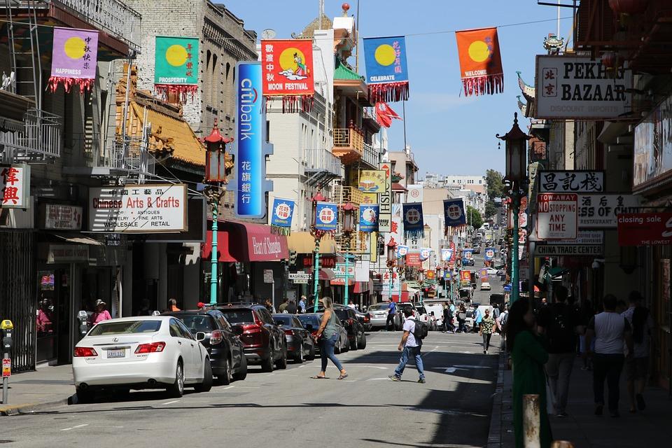 San Francisco, China Town, Street, People, Decorative