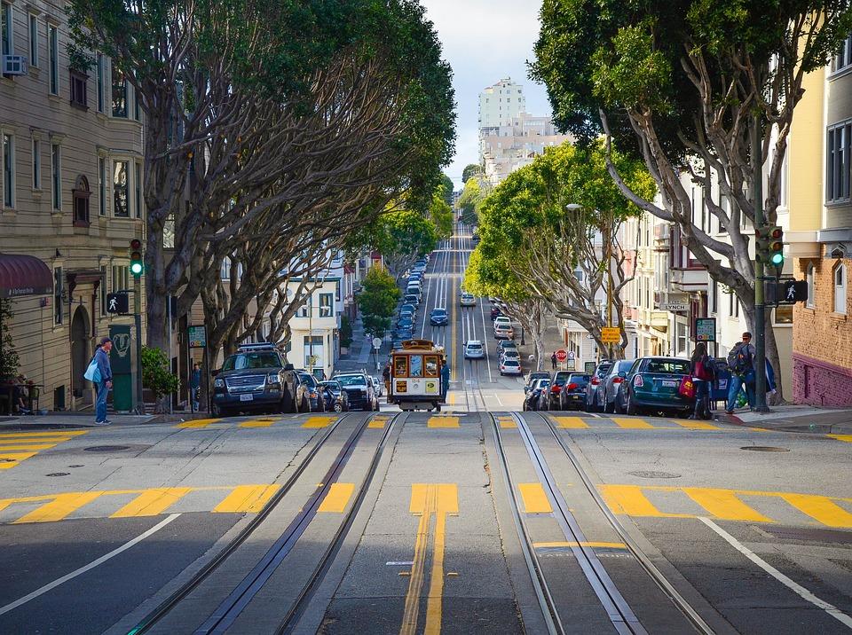 San Francisco, Cable Cars, Road, Train