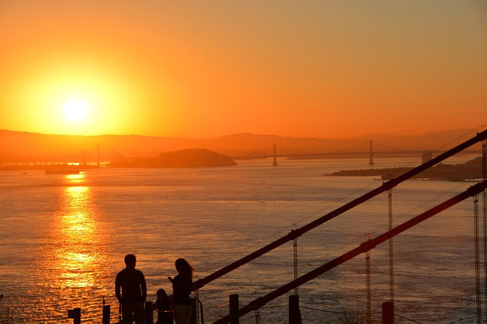 California, San Fransisco, Sunrise, America, City