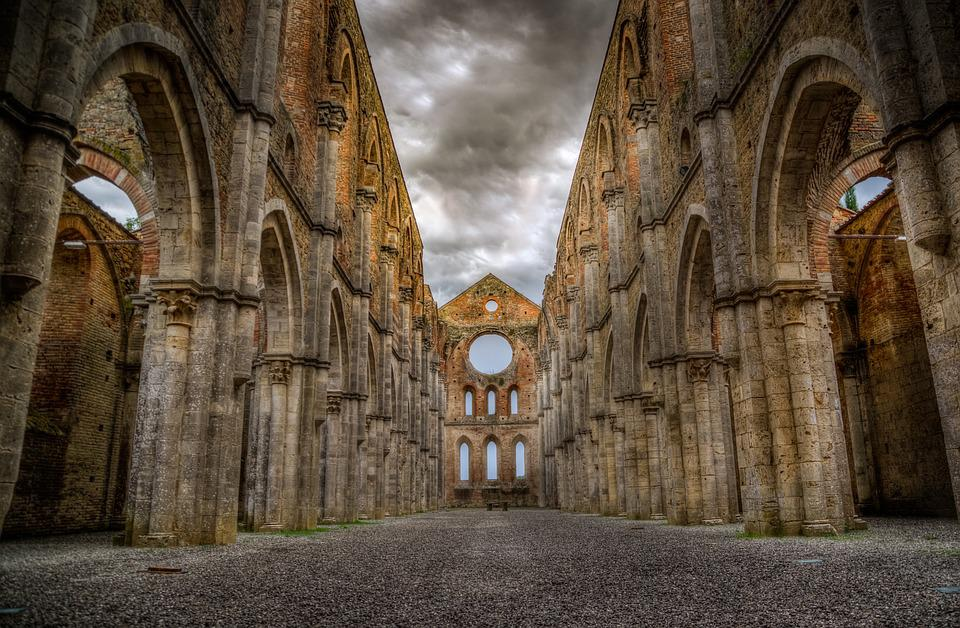 San Galgano, Abbey, Ruins, Tuscany, Church