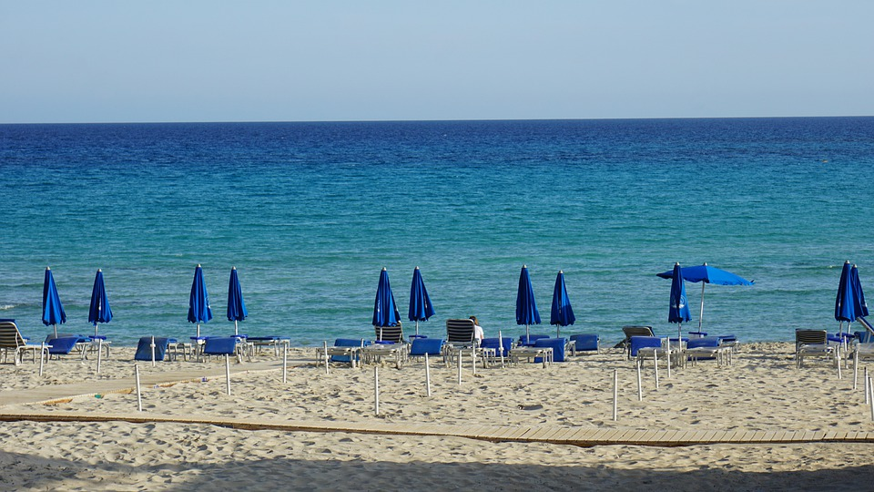 Beach, Blue, Sea, Water, Sky, Umbrella, Sand, Nature