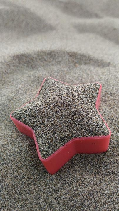 Stars, Building Blocks, Container, Sand Beach, Sha, Red