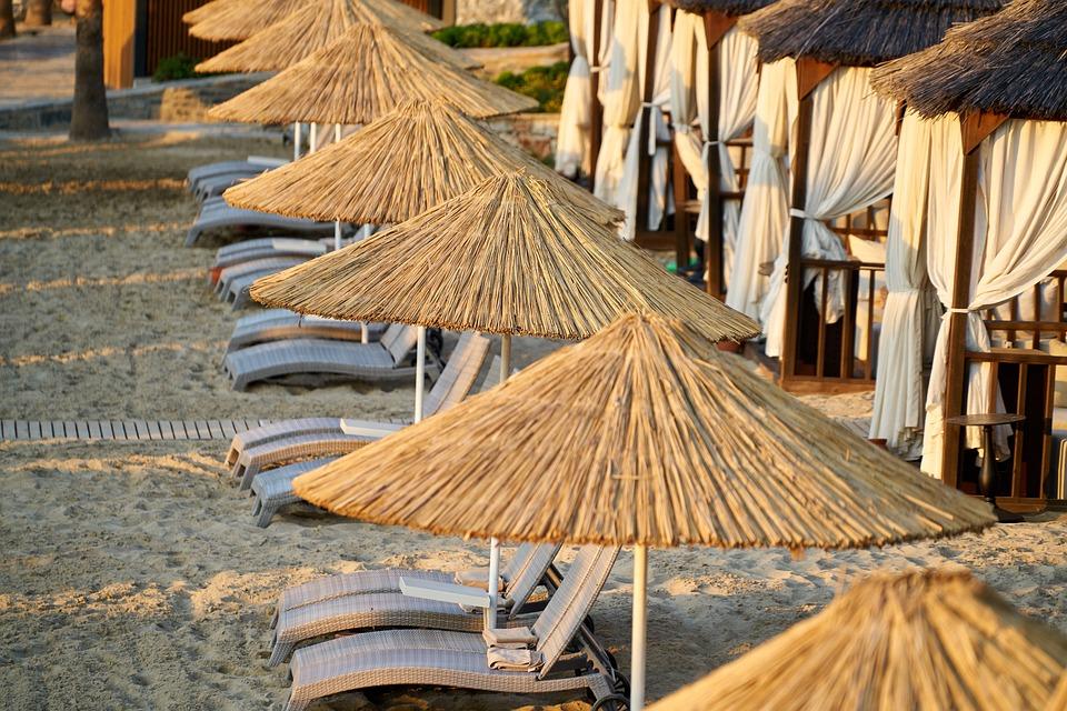 Sunbeds, Umbrella, Beach, Sand, Tourism, Nature