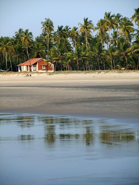 Goa, Beach, House, Sea, Blue, Sky, Sand