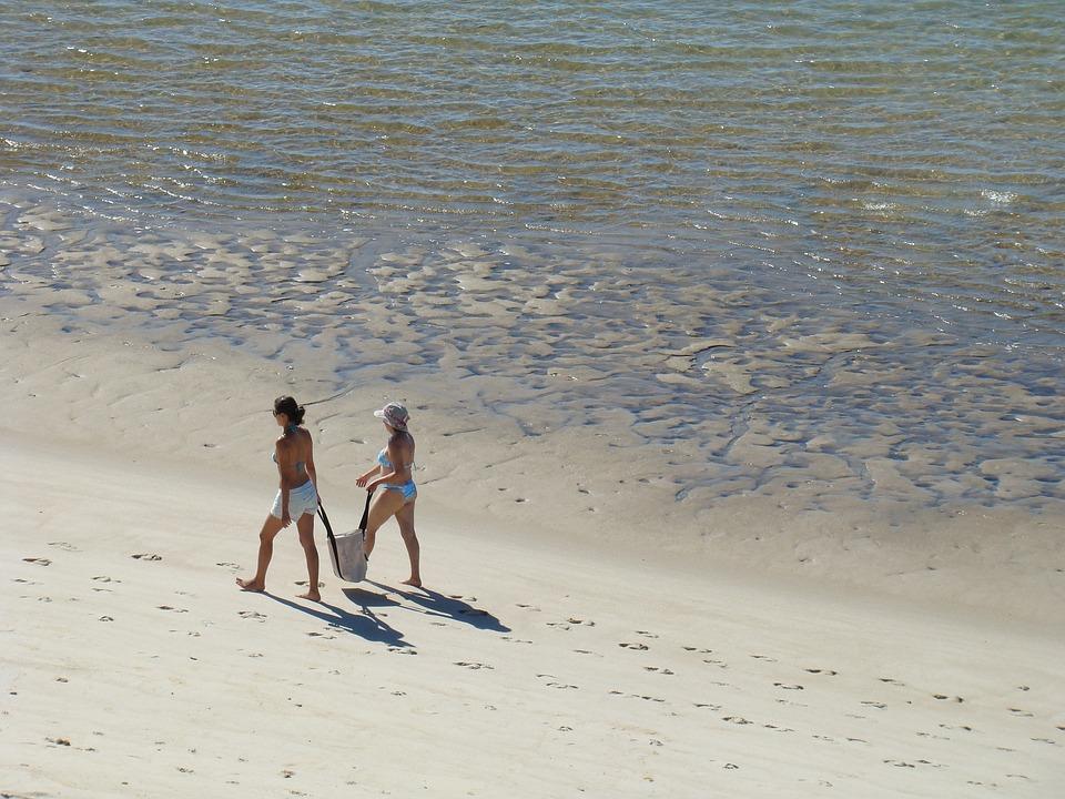 Areia, Praia, Beach, Mulheres, Caminhar, Sand, Ocean