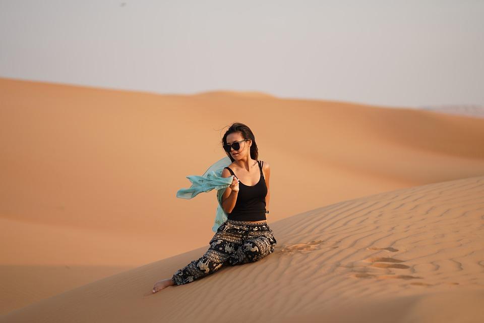 Dubai, Desert, Girl, Sand