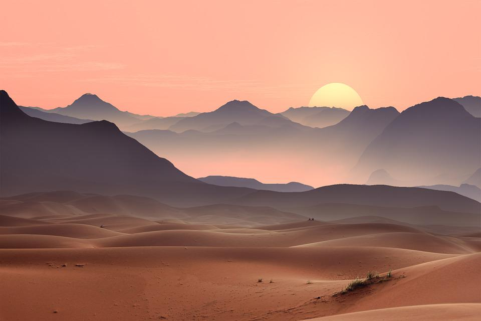 Sunset, Desert, Dunes, Sand, Sand Dunes, Barren