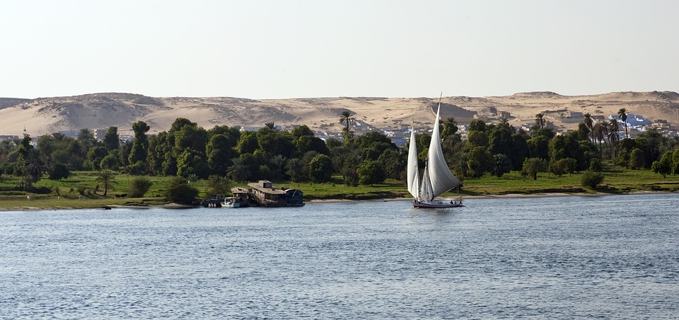 River Nile, Egypt, Sailboat, Dhow, Felucca, Sand Dunes
